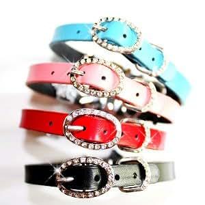 """Spotlight"" Buckle Leather Dog Cat Collar with Handset Swarovski Crystals - Black/ S (10""-12"")"