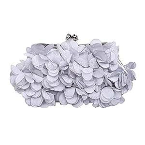Women's Wedding Clutch/Evening Bag, Satin Flower Design, Multi-Color Optional (Color : Gray)
