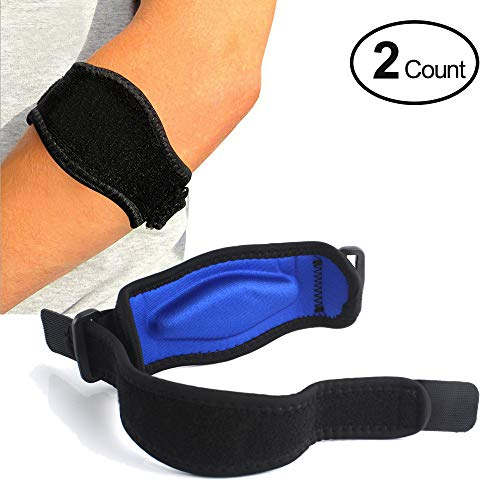 Tennis Elbow Brace (2+2 Pack) with Compression Recovery Pad for Men & Women - Best Tennis & Golfer's Elbow Support Strap Band Relieves Tendonitis Epicondylitis and Forearm Pain Relief, Wrist Sweatband