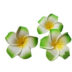 Flyusa 100 Pcs Hawaiian Foam Artificial Plumeria Rubra Hawaiian Flower Petals For Wedding Party Decoration,Diameter 2.8inch,Green 43