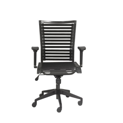 Euro Style Pro Flat Bungie High Back Adjustable Office Chair with Adjustable Arms, Black Bungies with Graphite Black Frame (Chair Cord Bungee Office)