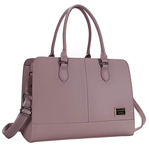 MOSISO Womens Laptop Bag (Up to 15.6 Inch), Briefcase for Women,PU Leather Large Capacity with 3 Layer Compartments Business Work Travel Tote Shoulder Handbag Compatible MacBook & Notebook, Purple
