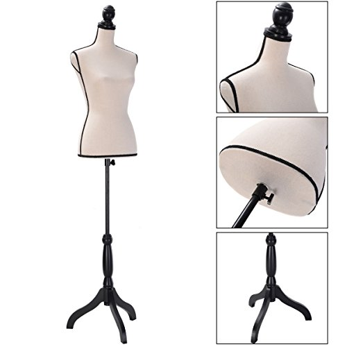 Beige Female Mannequin Torso Clothing Dress Display W/ Black Tripod Stand New from New Unbrand