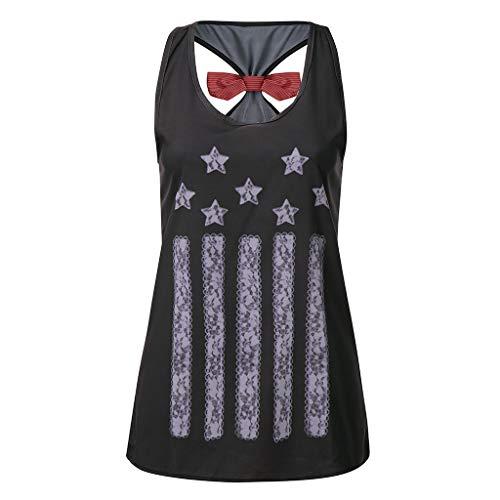 TWinmar -Women Girls Print Sleeveless Tank Tops Vest American Flag Short T-Shirt Loose Comfortable Round Neck Tops Bow-Knot Blouse (Black,S)