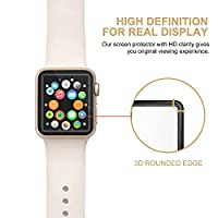 Apple Watch Screen Protector 42mm (Series 1/Series 2),Amoner Tempered Glass Screen Protector[Anti-scratch] [Bubble-free] for Apple Watch 42mm Clear HD Anti-Bubble Film by Amoner