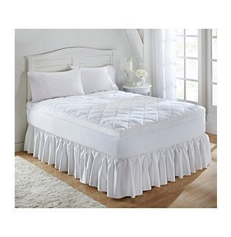 JBFF Sherpa Fleece Quilted Duck Feather Filled Featherbed, Full, White
