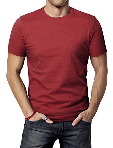- H2H Men's Classic Designed Good Fit Cotton Blended Premium Crew Neck T-Shirt Maroon US 3XL/Asia 4XL (CMTTS0198)