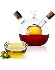 2-in-1 glazen dispenser, 2-in-1 schenktuit, oliedispenser, olijfoliedispenser, rond, 8 x 11 cm en azijnfles.