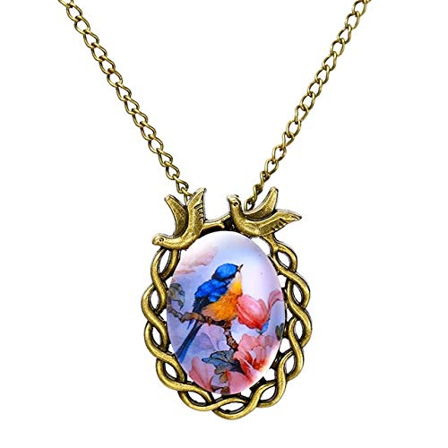 (Pendants - 1Pc Summer Style Jewelry Vintage Antique Bronze Oval Flower Alloy Bird Necklace Glass Cabochon Statement Necklace For Women - Rhodium Plated)