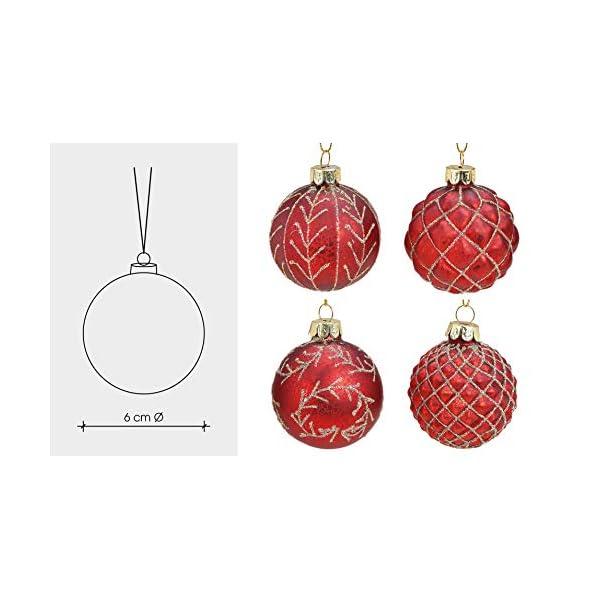 MC, set di 12 palle di Natale in vetro, Ø 6 cm, palle per albero di Natale, decorazione natalizia, Vetro, Oro rosso, Ø 6cm 5 spesavip