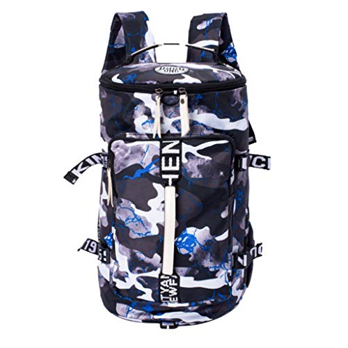 Vielguck_Bag Women Men Large Capacity Canvas Bucket Backpack, National Style Cool College Bag Mountaineering Bag Travel Luggage Bag -