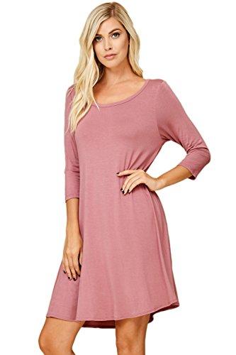 1e60e84b6d650a Galleon - Annabelle Women's Loose Comfy Mini Length Three Quarter Sleeve  Scoop Neck Plus Size Dress With Side Slant Pockets Ash Mauve X-Large D5211X