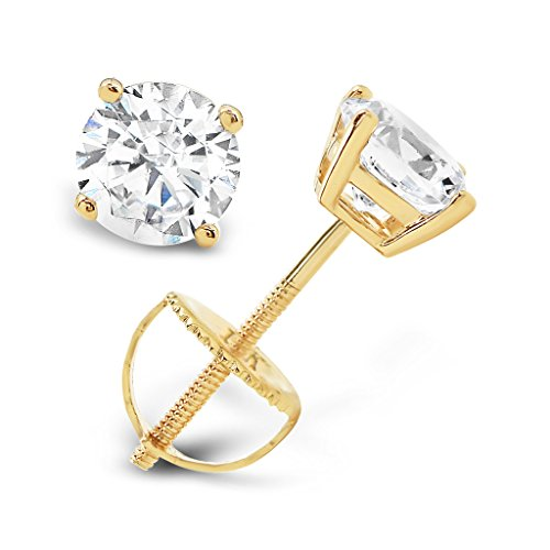 753d9243a13 14K Solid Yellow Gold Round Cut Cubic Zirconia Stud Earrings with screw  back posts (1.0 ctw