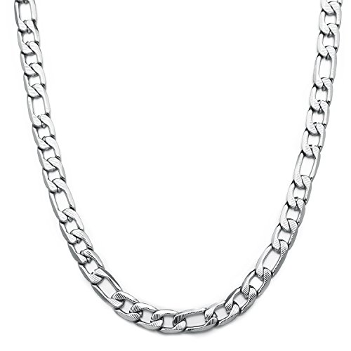HolyFast 5-8.5mm Wide 16-36IN Figaro Link Chain Necklace Silver Tone Stainless Steel Necklace Men Jewelry