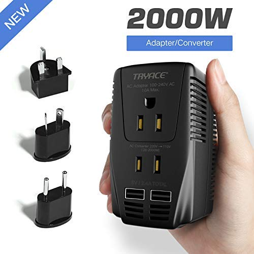 TRYACE 2000W Voltage Converter with 2 USB Ports,Set Down 220V to 110V Power Converter for Hair Dryer /Straightener /Curling Iron, Travel Transformer for UK/AU/US/EU Plug Adapter(Exclusive) (Best A To D Converter)