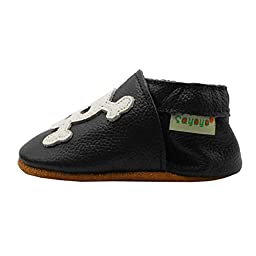 Sayoyo Baby Skull Soft Sole Black Leather Infant and Toddler Shoes 6-12months