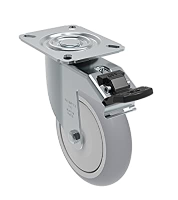 "Schioppa GL 512 SPE G L12 Series 5"" x 1-1/4"" Diameter Swivel Caster with Total Lock Brake, Non-Marking Extra Soft Thermoplastic Rubber Precision Ball Bearing Wheel, Plate 3-1/8"" x 4-1/8"" (Bolt Holes 3-1/8"" x 2-1/4""), 250 lb"