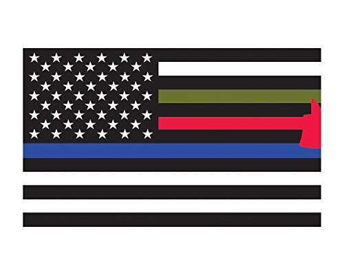 Morale Tags First Responder Flag American Flag Thin Red Blue Green Flag 3x5 Vinyl Decal Sticker for Cars Trucks Laptops etc.3x5 (Black and White) -