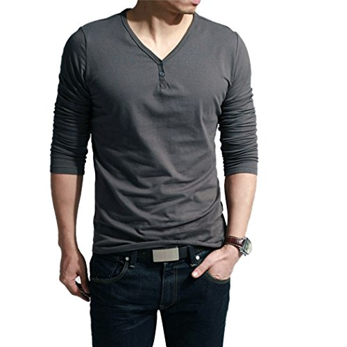 Men's Classic Solid T Shirt, Long Sleeve Casual Slim Fit Henley T Shirt (L, Dark Grey)