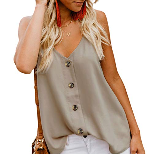 Angerella Women's Casual Solid Tank Tops Spaghetti Strap Button Down V Neck Summer Sleeveless Blouses Shirts Apricot,S