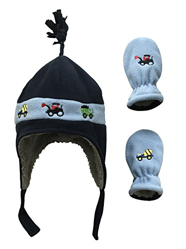 N'Ice Caps Little Boys and Baby Sherpa Lined Fleece Hat Mitten Embroidery Set (3-6mos, Navy/Light Blue Trucks Infant)