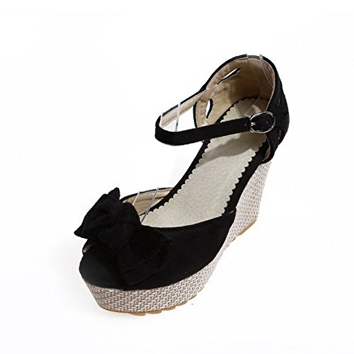 AllhqFashion Women's Imitated Suede Solid Buckle Peep-Toe High Heels Sandals Black