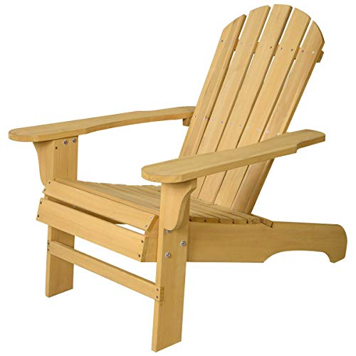 MAREEYA SHOP New Outdoor Natural Fir Wood Adirondack Chair Patio Lawn Deck Garden ()
