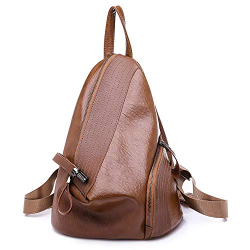 iFOMO Woman Backpack Personality Tweezers Soft PU Leather Lock Small Shoulder Bag(Brown,Small)