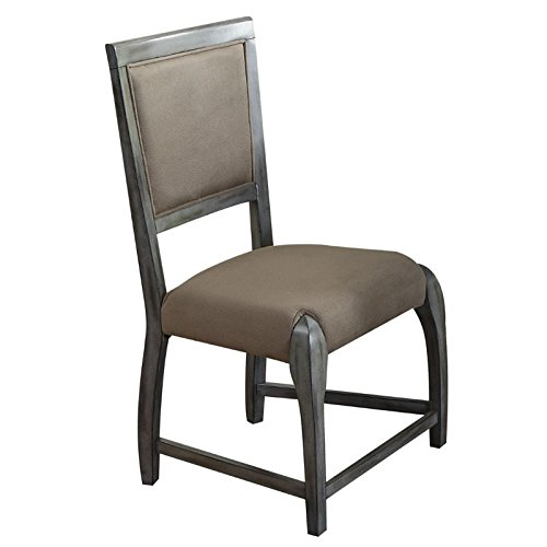 ACME Furniture 72112 Freira Bronze Fabric Side Chair (Set of 2), Antique Gray