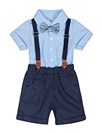 Edjude Baby Boys Gentleman Formal Outfits Set Infant Romper with Tie and Overalls Bib Pants Wedding Tuxedo Outfits Suit