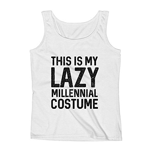 (Mad Over Shirts This is My Lazy Millennial Costume XX-Large White Unisex Premium Tank)