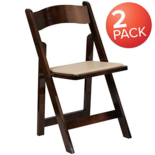 (Flash Furniture 2 Pk. HERCULES Series Fruitwood Wood Folding Chair with Vinyl Padded Seat)