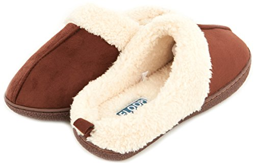 Floopi Womens Indoor Outdoor Foderato In Pelliccia Slipper W / Memory Foam Brown-301