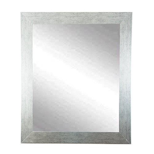 "BrandtWorks Stainless Grain Wall Mirror, 32"" x 50"", Flat Bru"