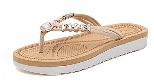 Talon Plate Chausson Strass Piscine YOGLY Maison de Vacances pour Chaussures Blanc Eté Fille Plage Sandales Femme Tongs xRXxdqI