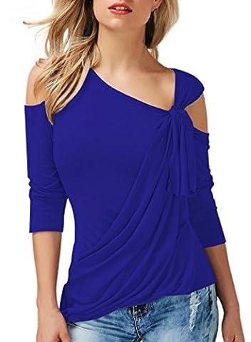 Annflat Women's Plain Cutout Shoulder Ladies Cotton Club Party Plus Size Blouses and Tops Medium - Club Ladies Tee