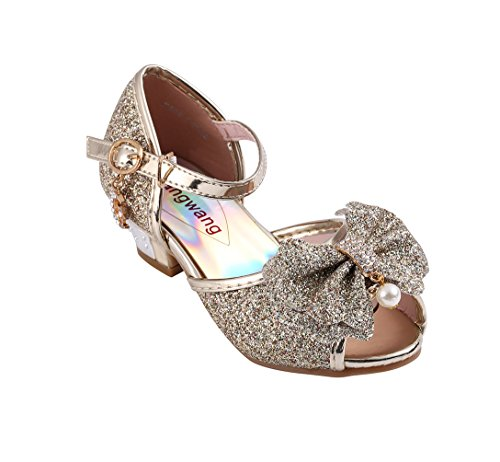 Children Princess Girls Sequin Sandals Crystal High Heels Shoes (10 M US Toddler, Gold) ()