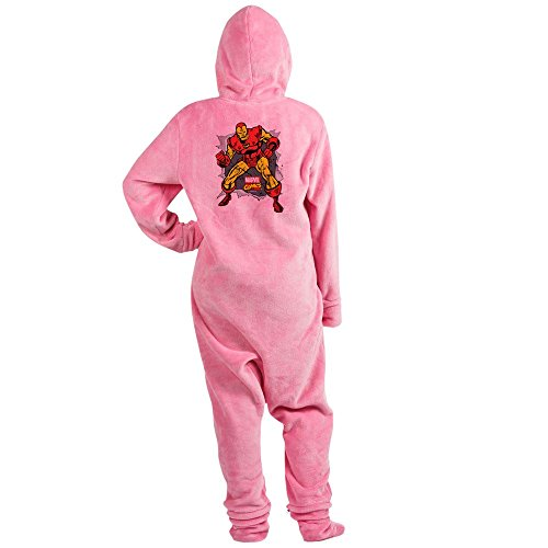 CafePress Iron Man Ripped Novelty Footed Pajamas, Funny Adult One-Piece PJ Sleepwear Pink