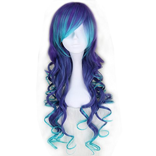 ng Curly Gradient Blue & Purple Party Cosplay Costume Wig C023 ()