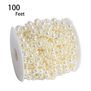 Hapy Shop 100 Feet Ivory Artificial Pearls String Fishing Line by The Roll for Garland Flowers Wedding Party,Bridal Bouquet Crafts Decoration & Home Decoration 67