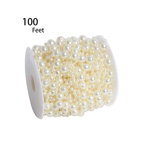 Happy-Shop-100-Feet-Ivory-Artificial-Pearls-String-Fishing-Line-by-The-Roll-for-Garland-Flowers-Wedding-PartyBridal-Bouquet-Crafts-Decoration-Home-Decoration