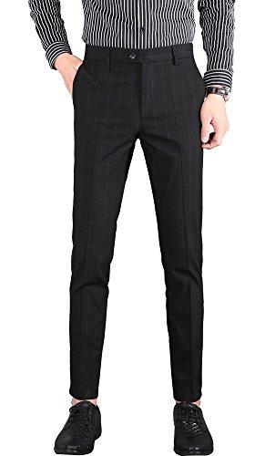 Fashion Suit Trousers - Plaid&Plain Men's Plaid Dress Pants Cropped Pants Men's Slim Dress Pants 1868Black 32