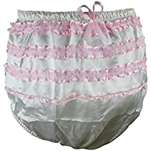 Haian ABDL PVC & Satin Panties Frilly Rumba Pants Color White (Medium)
