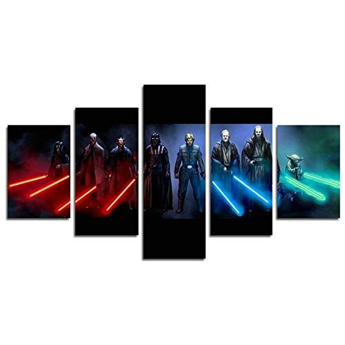 AtfArt 5 Piece Jedi and Sith Star Wars Canvas Painting for Living Room Home Decor Canvas Art Wall Poster Print Frame Ready to Hang(Frame) ()