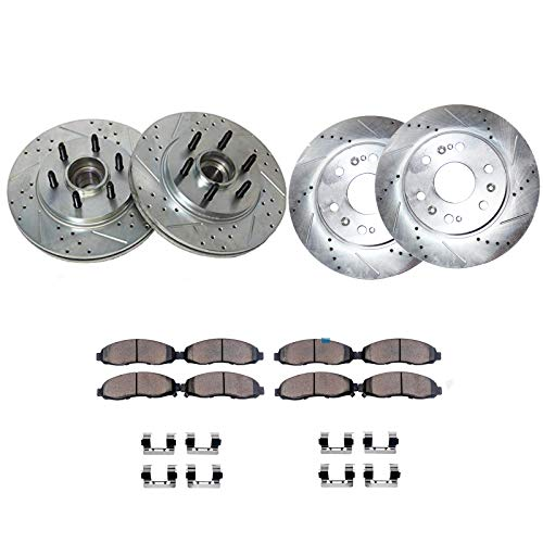 Detroit Axle - All (4) Front and Rear Drilled and Slotted Disc Brake Rotors w/Ceramic Pads w/Hardware for 2004 2005 2006 2007 2008 Ford F-150 - [2006-2008 Lincoln Mark LT] - 2WD 6 Lug Only
