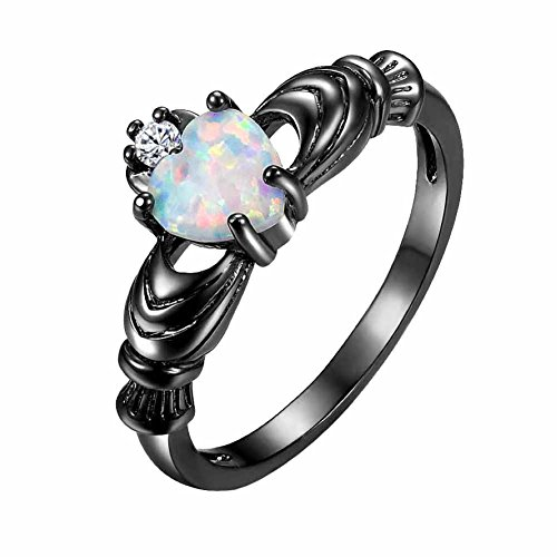 MGIE Heart Cut Fire Opal Women Men Jewelry Black Gold Plated Wedding Engagment Band Ring ()
