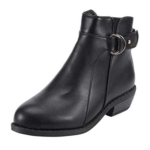 Respctful ♪☆ Shoes for Women,Solid Chunky Heel Side Zipper Ankle Booties Round Toe Flats Boots Casual Shoes -