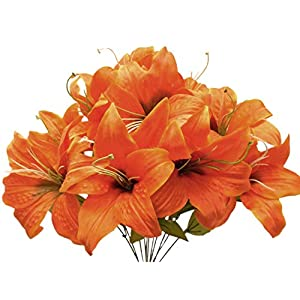 "Phoenix Silk Tiger Lily Bush Satin 11 Artificial Flowers 19"" Bouquet 8225 Orange 54"
