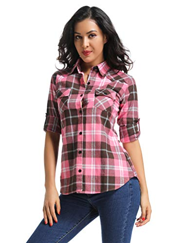 OCHENTA Women's Long Sleeve Button Down Plaid Flannel Shirt M138 Peach Pink ()
