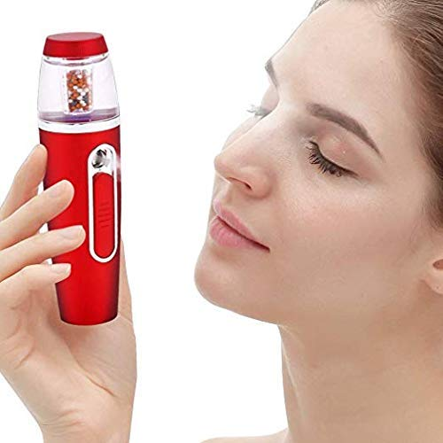 Anion Nano Facial Steamer, Mini Personal VC Spray Facial Mister Handy Portable Nano Mist Sprayer with 30ml Water Tank Capacity,Eyelash Extensions,Humectant Hydrating Steamer Cool Mist Red